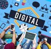 Концепция технологии средств массовой информации интернета цифров всемирная Стоковая Фотография RF