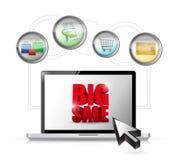 Концепция технологии ecommerce большой продажи онлайн. Стоковая Фотография