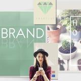 Концепция товарного знака профиля маркетинга клеймя ярлыка бренда Стоковые Изображения