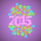 Концепция 2015 торжества на фиолетовой предпосылке Стоковое фото RF