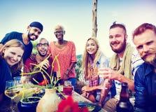 Концепция торжества официальныйа обед лета пляжа Стоковые Фотографии RF