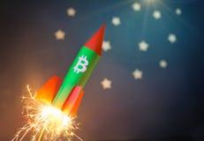 Концепция увеличивая цены Bitcoin Стоковая Фотография RF