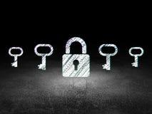 Концепция уединения: закрытый значок padlock в grunge Стоковое Изображение