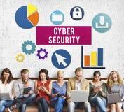 Концепция уединения замка обеспечения безопасности кибер стоковая фотография rf