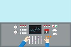 Концепция управления и регулировки Панель эксплуатируемая руками - плоская иллюстрация Стоковые Изображения RF