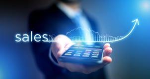 Концепция успеха в бизнесе при стрелка идя вверх на технологию стоковые изображения