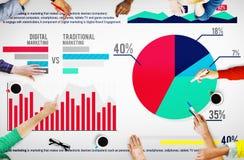 Концепция успеха роста стратегии планирования маркетинга цифров Стоковые Изображения RF