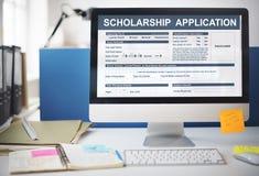 Концепция учреждения формы для заявления стипендии Стоковые Фотографии RF