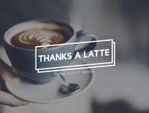 Концепция удовольствия кофе Latte большое спасибо горячая стоковая фотография