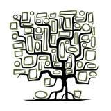 Концепция фамильного дерев дерева с пустыми рамками Стоковое Фото