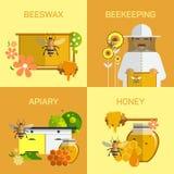 Концепция фермы меда пчелы органическая Иллюстрация вектора в плоском дизайне стиля Насекомое, клетка, сот и beeswax Стоковые Фотографии RF