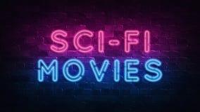 Концепция фильмов научной фантастики Пурпур и голубой неоновый ШИЛЬДИК на темной кирпичной стене : бесплатная иллюстрация