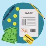 Концепция финансового счета оплаты фактуры оплаченная Биллом Стоковые Фото