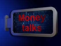Концепция финансов: Беседы денег на предпосылке афиши стоковое фото rf