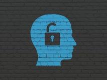 Концепция финансов: Голова с Padlock на предпосылке стены Стоковое Изображение RF