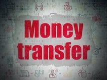 Концепция финансов: Денежный перевод на бумаге цифров Стоковая Фотография