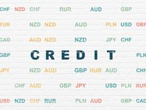 Концепция финансов: Кредит на предпосылке стены иллюстрация вектора