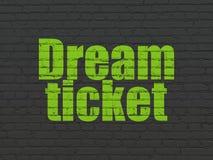 Концепция финансов: Мечт билет на предпосылке стены стоковые изображения