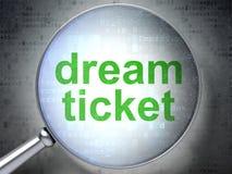 Концепция финансов: Мечт билет с оптически стеклом стоковые фото