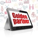 Концепция финансов: Планшет с золотым партнером на дисплее Стоковое Фото