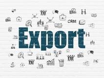 Концепция финансов: Экспорт на предпосылке стены Стоковые Изображения