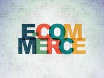 Концепция финансов: Электронная коммерция на предпосылке бумаги цифровых данных Стоковые Изображения