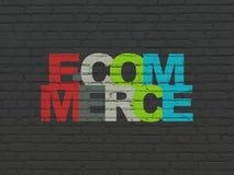 Концепция финансов: Электронная коммерция на предпосылке стены Стоковое фото RF