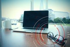Концепция фокуса на цели с цифровой диаграммой, диаграммой взаимодействует Стоковые Изображения RF