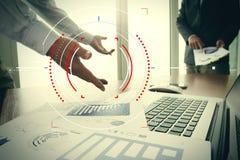 Концепция фокуса на цели с цифровой диаграммой, диаграммой взаимодействует Стоковое Фото
