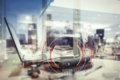 Концепция фокуса на цели с цифровой диаграммой, диаграммой взаимодействует Стоковые Фотографии RF