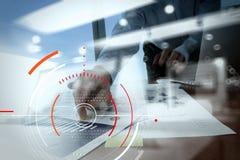 Концепция фокуса на цели с цифровой диаграммой, диаграммой взаимодействует Стоковое Изображение RF