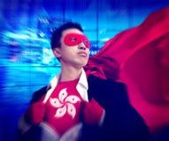 Концепция фондовой биржи Гонконга бизнесмена супергероя стоковые изображения rf