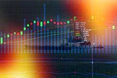 Концепция фондовой биржи с буровой вышкой в заливе Стоковое фото RF