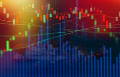 Концепция фондовой биржи с буровой вышкой в заливе Стоковые Изображения RF