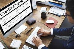 Концепция формы запроса финансового учета проверки кредитоспособности Стоковые Изображения