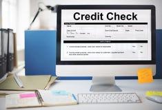 Концепция формы запроса финансового учета проверки кредитоспособности Стоковое Изображение RF