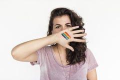Концепция фотографии портрета женщины вскользь LGBT Стоковое Изображение