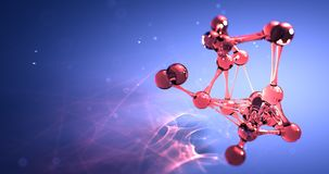 Концепция химиката исследования молекулы или атома nano безшовная анимация 8k 4k UHD петли видеоматериал