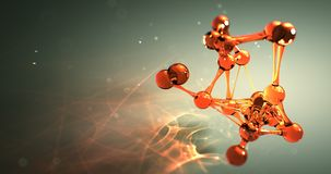 Концепция химиката исследования молекулы или атома nano безшовная анимация 8k 4k UHD петли акции видеоматериалы
