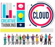 Концепция хранения данных сети облака облака облака вычисляя Стоковые Изображения