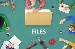 Концепция хранения документа данным по папки файлов Стоковые Изображения