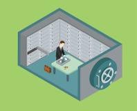 Концепция хранилища плоского банковского хранилища сети 3d равновеликого безопасная Стоковое Изображение