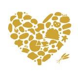 Концепция хлебопекарни, сердце влюбленности, эскиз для вашего дизайна Стоковое Фото