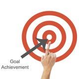 Концепция цели и достижения, бизнесмен с рукой стоковое фото