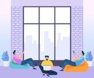 Концепция центра Coworking Деловая встреча иллюстрация штока