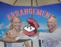 Концепция церемонии влюбленности предложения руки и сердца Wedding Стоковые Изображения RF