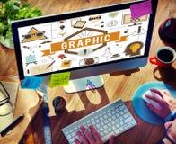 Концепция цифров графического творческого дизайна иллюстративная визуальная стоковые фото
