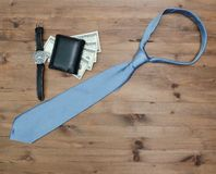 Концепция частей джентльмен установленный на деревянный стол Стоковые Фотографии RF