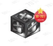Концепция черной продажи пятницы супер равновеликая Квадратная скидка и рогулька специального предложения формата плаката Шаблон  Стоковое Фото