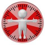 Концепция: человеко-час человек 3d и циферблат перевод 3d иллюстрация вектора